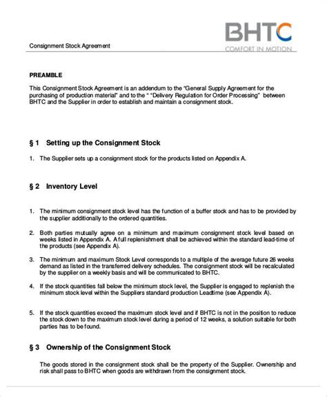 Free Consignment Stock Agreement Template by 65 Simple Agreements Sle Templates