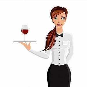 Vektoren Rechnung : fr hlich sexy m dchen restaurant kellner mit tablett und wein glas portr t isoliert auf wei em ~ Themetempest.com Abrechnung