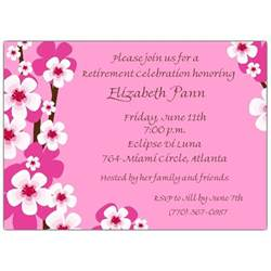graduation announcement templates cherry blossoms pink retirement invitations paperstyle