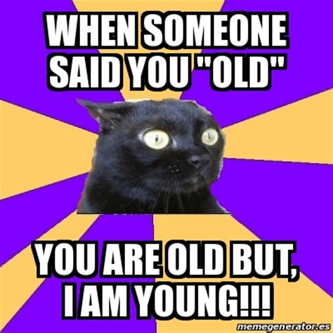 Anxiety Cat Meme Generator - meme anxiety cat when someone said you quot old quot you are old but i am young 25767073