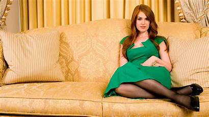 Isla Fisher Couch Pantyhose Sitting Wallpapers Redhead