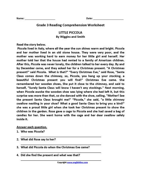 Reading Comprehension Worksheets For 3rd Grade On Christmas  Worksheet Example