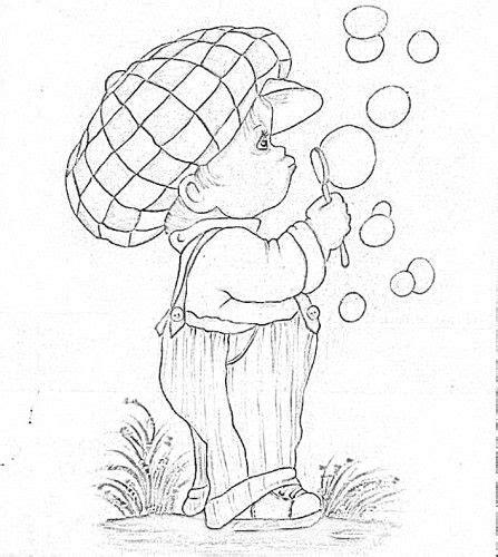 boy blowing bubbles applique bubble drawing