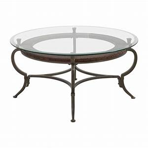 86 off macy39s macy39s round metal and glass cocktail for Round wire coffee table