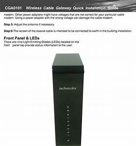 Castlenet Technology Cga0101 Wifi Cable Modem Router User