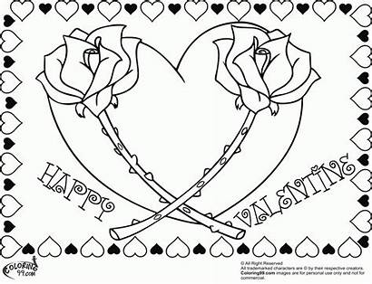 Coloring Valentine Hearts Heart Roses Rose Adults