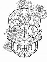 Coloring Skull Sugar Pages Colouring Adult Skulls Printable Sheets Rocks Books Halloween Comments Coloringhome sketch template