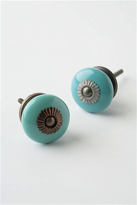 anthropologie knobs and pulls zinnia knob small aqua contemporary cabinet and