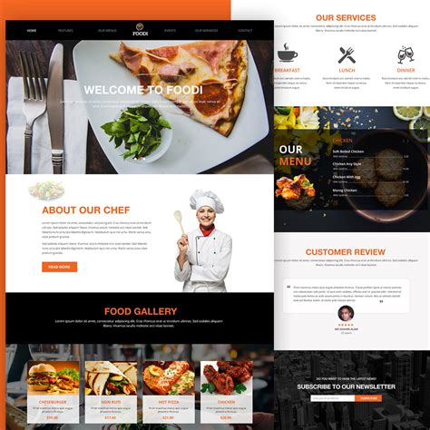 cuisine site restaurant website homepage template free psd