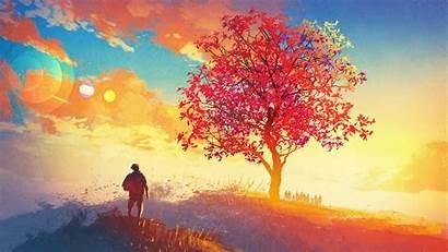4k Autumn Painting Tree Artwork Wallpapers Season