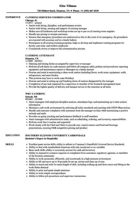 Catering Resume by Catering Resume Sles Velvet