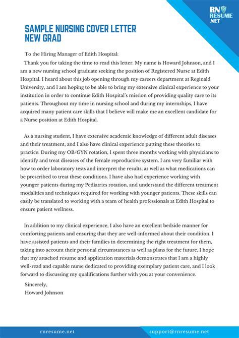 nursing cover letter  grad sample tips writing service