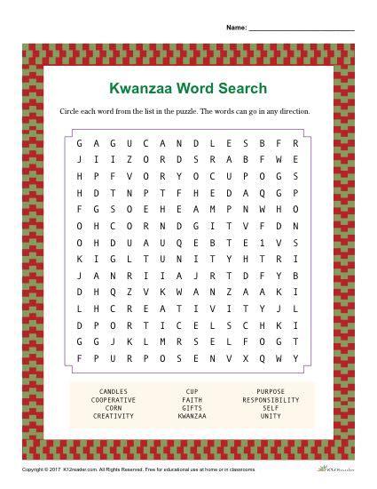 kwanzaa word search activity printable worksheet