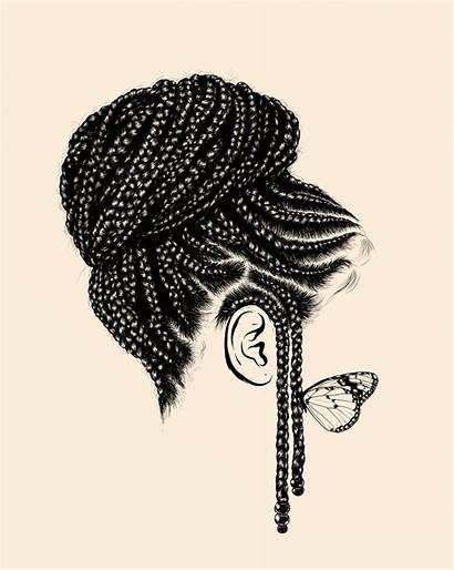 Braids Drawing Draw Hairstyles African Braided Braid