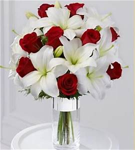 Silver+Tidings+Bouquet+with+red+roses+and+white+lilies.PNG ...