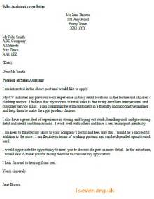 Cover Letter Exles For Sales Assistant No Experience Sales Assistant Cover Letter Exle Icover Org Uk