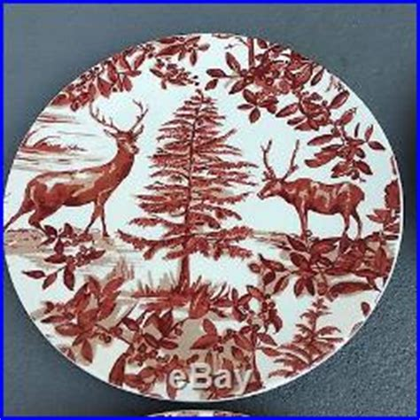 pottery barn alpine toile dinner salad plates red