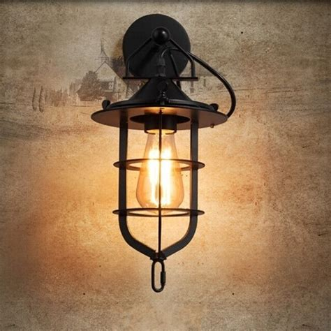 new industrial retro edison wall sconce cage wall light