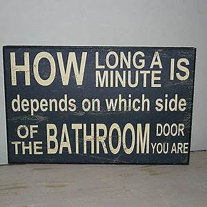 Vintage style distressed wall plaque sign how long is a for Funny bathroom songs