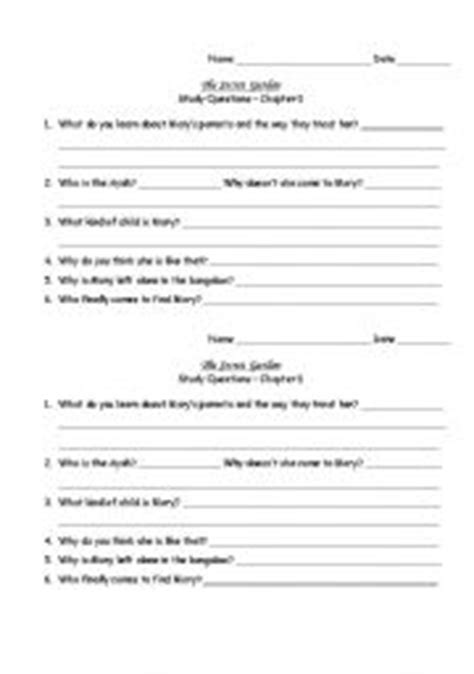 collection of the secret garden worksheets