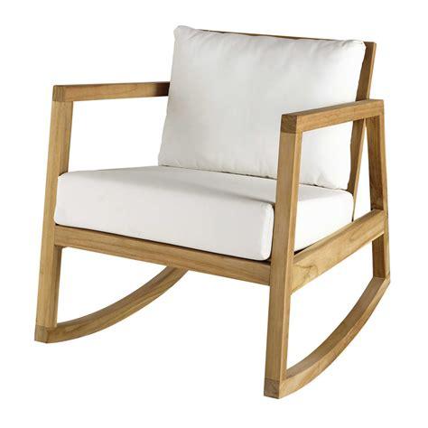 chaise bureaux fauteuil à bascule en teck et tissu blanc alpin maisons