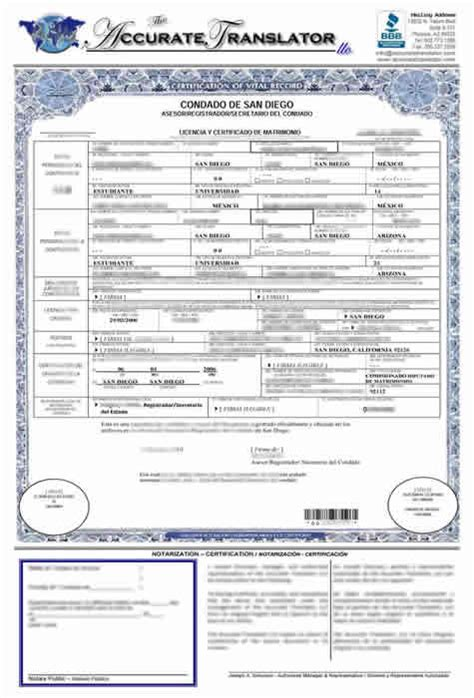 wedding certificate translated  english printable