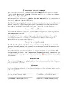 Contract Template Services Rendered