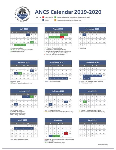 ancs school year calendar atlanta neighborhood charter school