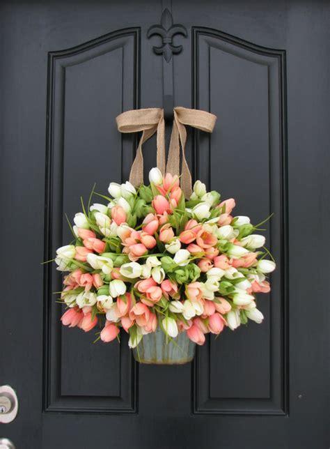 tulip decor tulips farmhouse door wreaths tulips mother s day by twoinspireyou