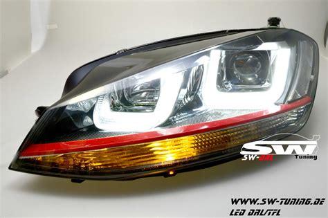 sw drltube headlights vw golf vii 12 15 black with led drl