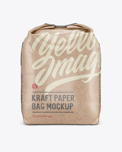 Here is a mockup of simple packaging for cake and cookie kraft paper bag mockup. Kraft Paper Flour Bag Mockup - Front View (Eye-Level Shot ...