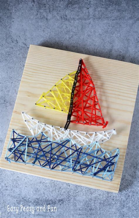 sailboat string art  kids easy peasy  fun