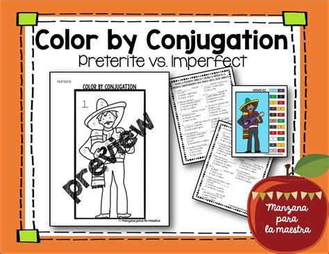 preterite  imperfect color  conjugation activity