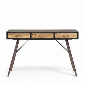 Console Bois Metal Industriel : console industrielle en bois et m tal 3 tiroirs refe par ~ Teatrodelosmanantiales.com Idées de Décoration