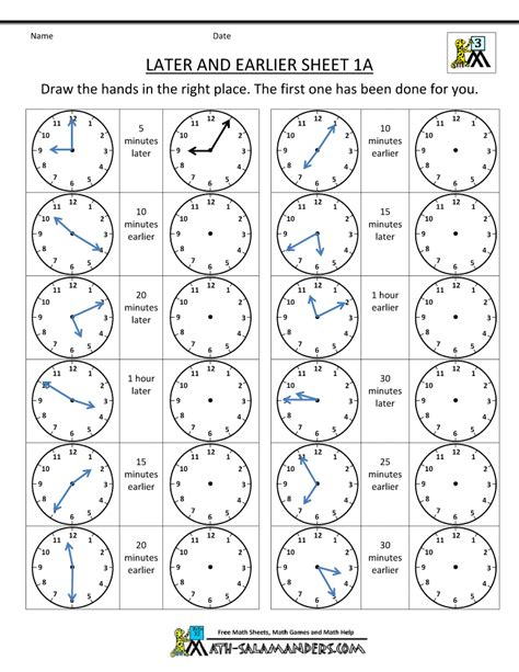 time worksheets   earlier  mathe clock