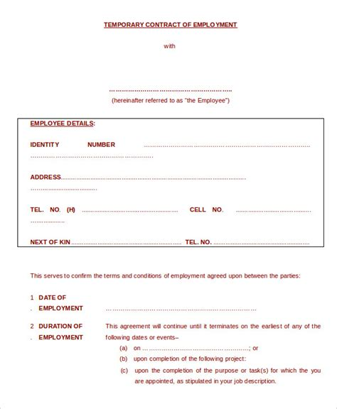 temporary contract template employment contract template 15 free sle exle format free premium templates