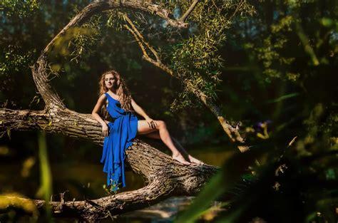 women, Trees, Blue Dress, Barefoot, Women Outdoors ...