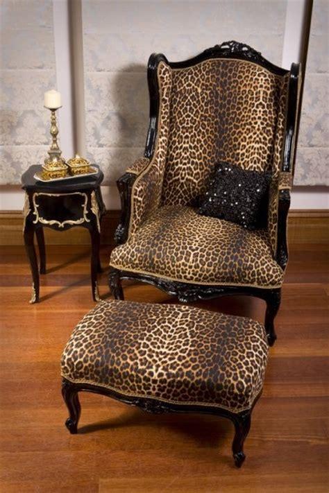 leopard wingback and ottoman home decor