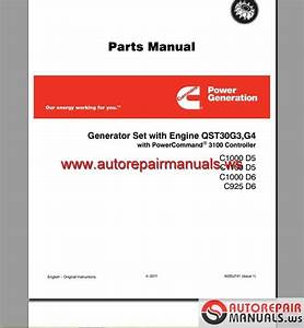 Cummins Generator Set With Engine Qst30g3 G4 Part Manual