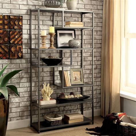 9 Ft Bookshelves by Shop Furniture Of America Logan Grey Industrial Metal
