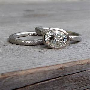 moissanite hammered engagement ring and wedding band oval With hammered wedding ring