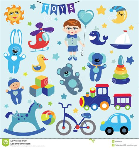 Baby Boy With Baby Toy Icons Stock Vector - Image: 42848558
