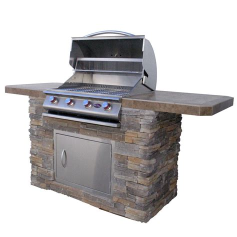 cal flame outdoor kitchen stainless cal flame 7 ft cultured stone bbq island with 4 burner