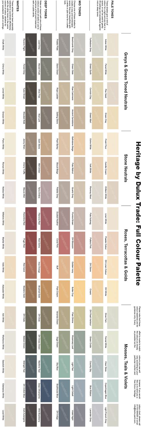 dulux heritage colour chart full range of 112 colours