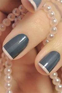 Gray with light pink French tips | Nails | Pinterest