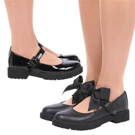 womens girls mary janes bow school shoes ladies kids