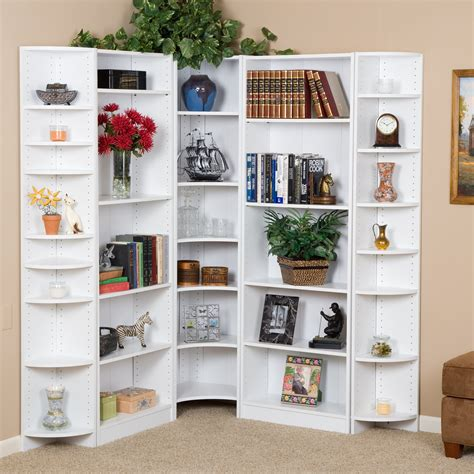 Premier Large Corner Bookcase Wall  White  Bookcases At