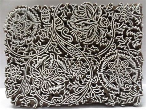 indian wooden hand carved textile printing fabric block