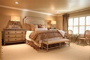 French Country neutral Master bedroom - Traditional