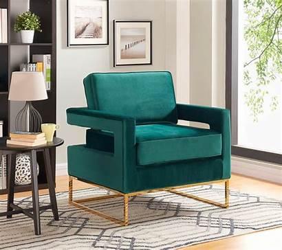 Accent Chair Gold Steel Velvet Modern Stainless